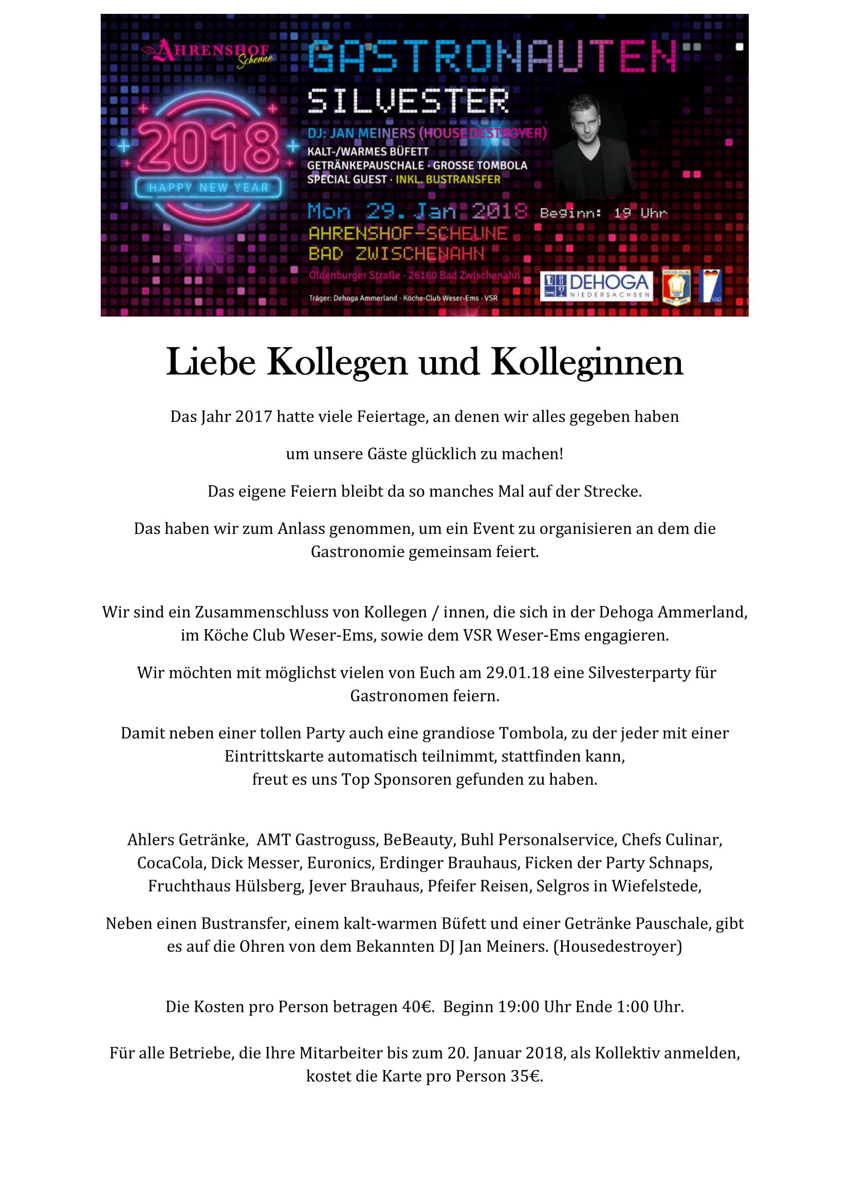 Gastronauten Silvester – Köche Club Weser Ems e.V.